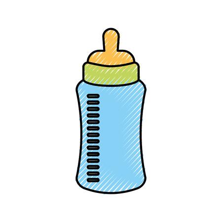 Baby shower bottle milk. Stock Vector - 85549450