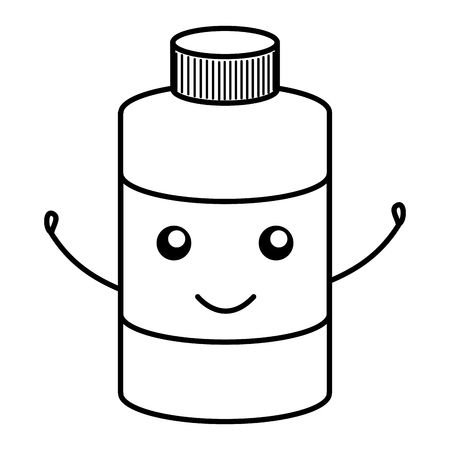 bottle medical kawaii character vector illustration design Illustration