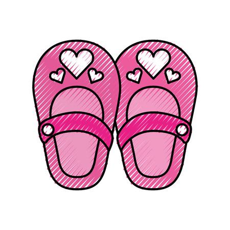 cute girl shoes baby shower decoration celebration vector illustration
