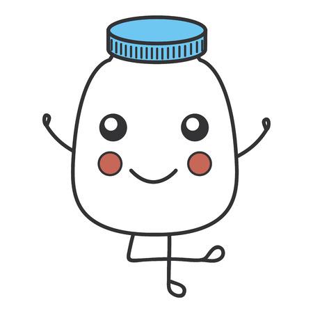 bottle medical kawaii character vector illustration design Ilustração