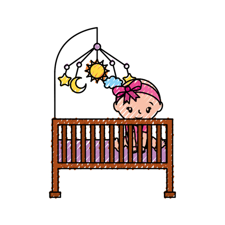 Girl with mobile toy cot baby shower furniture.