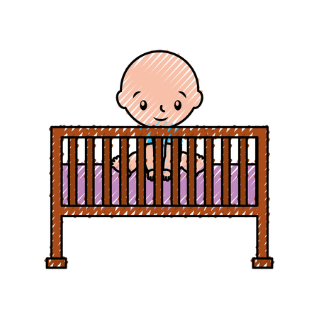 Boy cot baby shower furniture infant symbol.