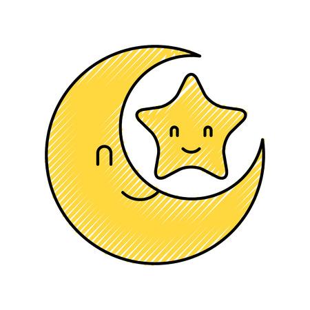 ベビーシャワーの月と星の漫画の装飾ベクトルイラスト  イラスト・ベクター素材