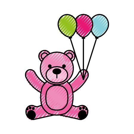 baby shower teddy girl and balloon cute animal vector illustration 向量圖像