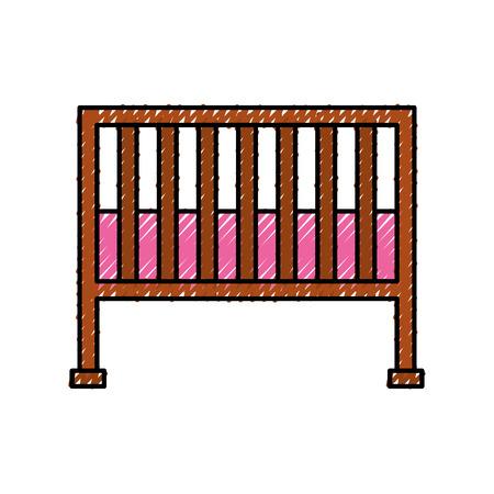kinderbedje babydouche meubilair baby symbool vectorillustratie