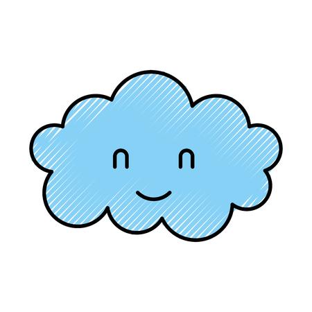Cartoon schattige wolk babydouche. Stock Illustratie