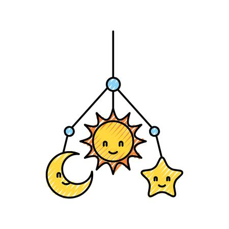 babygirl: Newborn toy mobile for baby shower invitation vector illustration