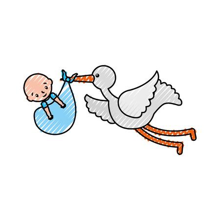 Ooievaar met een babyjongen in een zak aankomst afbeelding vectorillustratie Stock Illustratie