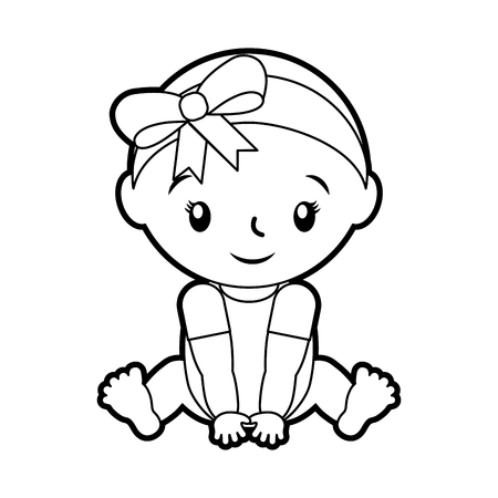 happy and smiling baby girl adorable vector illustration 版權商用圖片 - 85580323