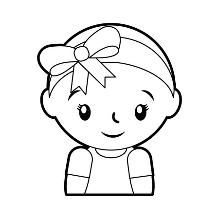 de gelukkige en glimlachende aanbiddelijke vectorillustratie van het babymeisje
