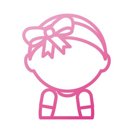 baby shower meisje schattig met diadeem boog vector illustratie Stock Illustratie