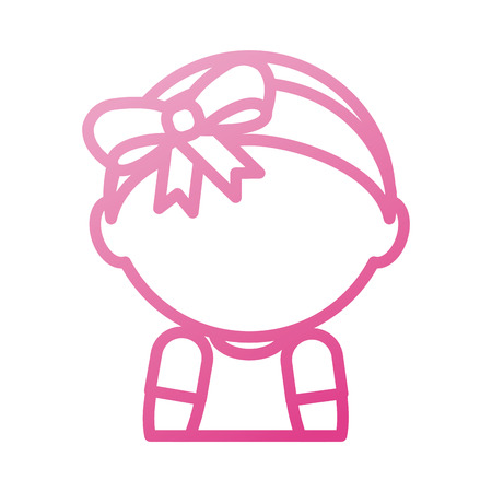 baby shower girl adorable with diadem bow vector illustration