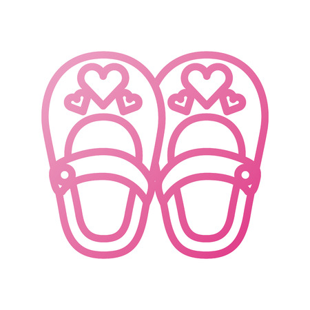 cute girl shoes baby shower decoration celebration Illustration