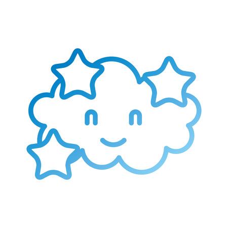 cartoon cute cloud stars baby shower image vector illustration Illustration