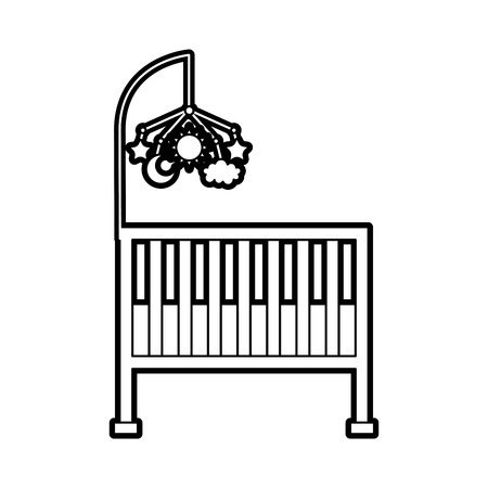 cot baby shower toy mobile furniture infant vector illustration
