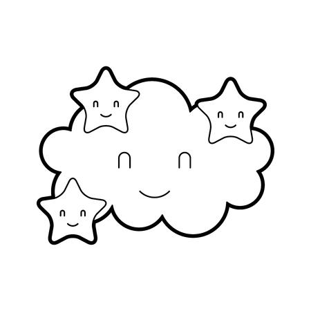 cartoon cute cloud stars baby shower image vector illustration Illusztráció