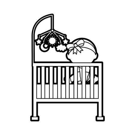 girl with mobile toy cot baby shower furniture infant symbol vector illustration Illustration