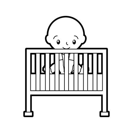 jongen kinderbed baby douche meubilair baby symbool vector illustratie