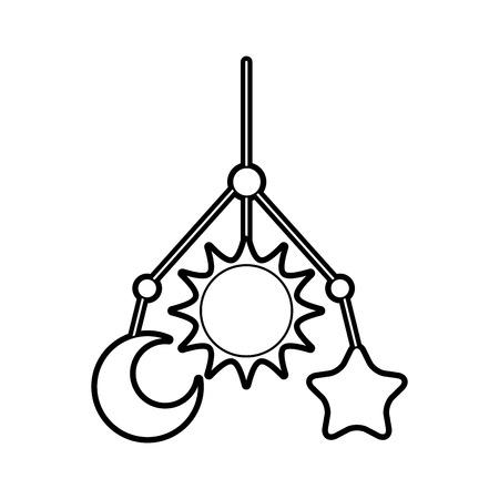 newborn toy mobile for baby shower invitation vector illustration Illustration
