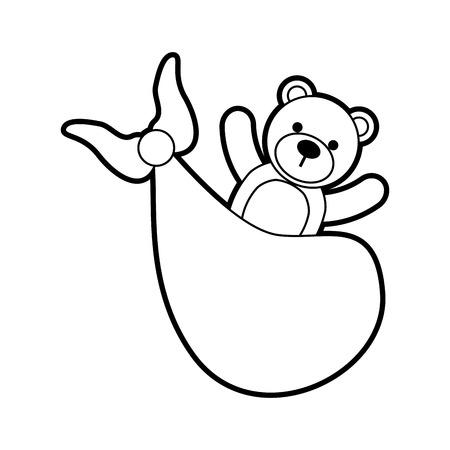 bear toy in blanket baby shower celebration vector illustration 向量圖像