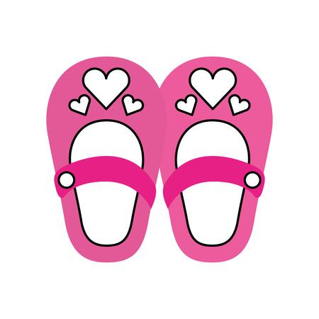 귀여운 소녀 신발 베이비 샤워 장식 축하 일러스트