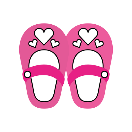 cute girl shoes baby shower decoration celebration 向量圖像