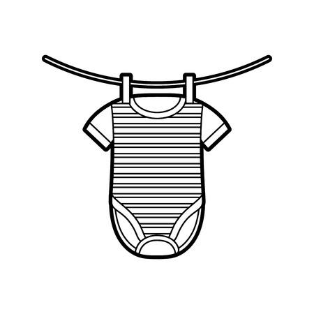 baby shower clothes hanging line celebration vector illustration Иллюстрация