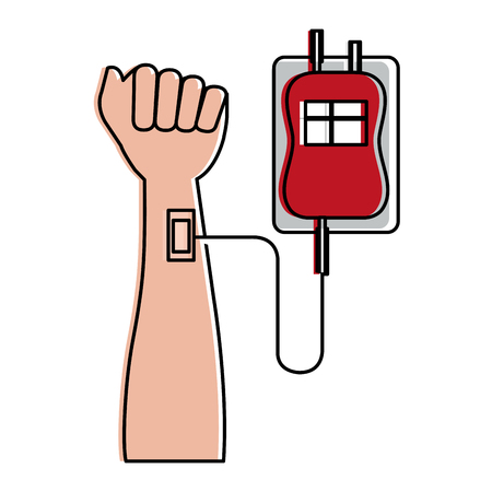 hand human with bag blood donation icon vector illustration design