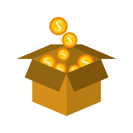 cardboard box with golden coin falling save bank concept vector illustration Illustration