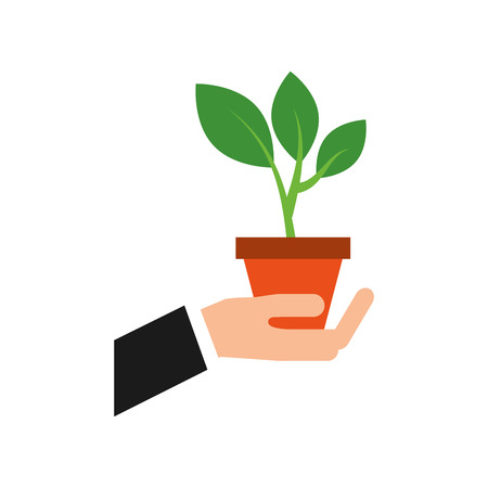 hand with pot plant growth business finance vector illustration