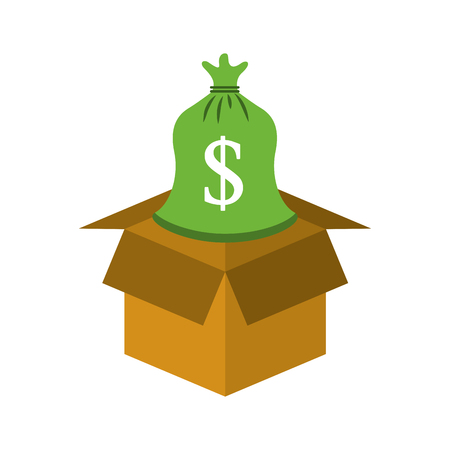 cardboard box with sack money save bank concept vector illustration