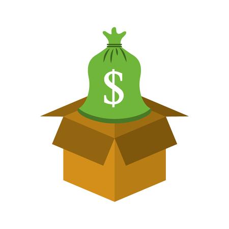 Karton mit Sack Geld speichern Bank Konzept Vektor-Illustration Standard-Bild - 85463502