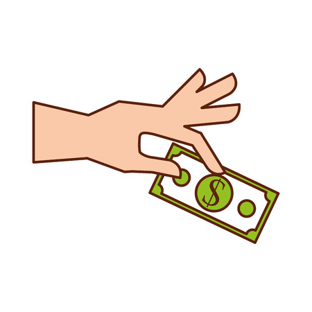 紙幣ビジネスファイナンスベクトルイラストと手