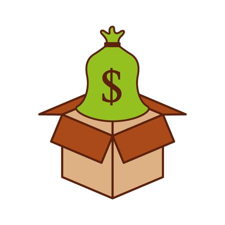 Karton mit Sack Geld speichern Bank Konzept Vektor-Illustration Standard-Bild - 85494136