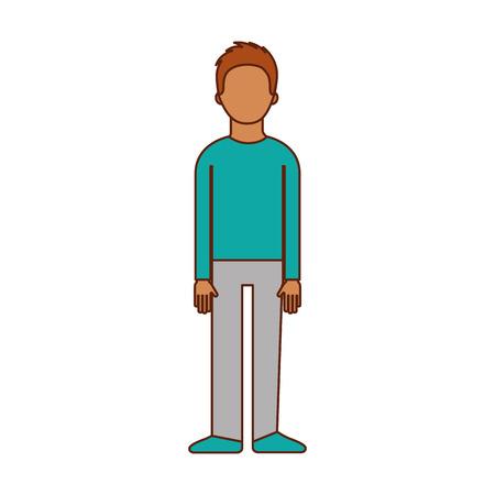 male avatar cartoon standing character man vector illustration