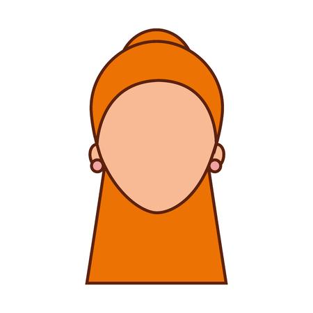 女性の顔キャラクターイヤリングと髪型ベクトルイラスト