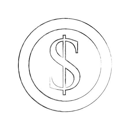 dollar coin currency cash money bank vector illustration
