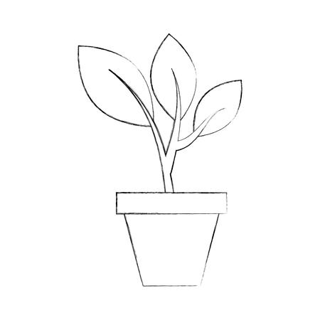 陶磁器の鍋概念から上がる植物の芽を育てるベクトルイラスト  イラスト・ベクター素材