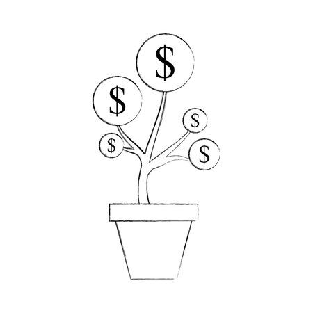 dollar coin money plant inside pot finance vector illustration