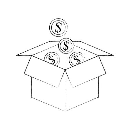 cardboard box with golden coin falling save bank concept vector illustration Ilustração
