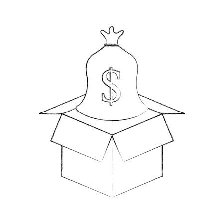 cardboard box with sack money save bank concept vector illustration