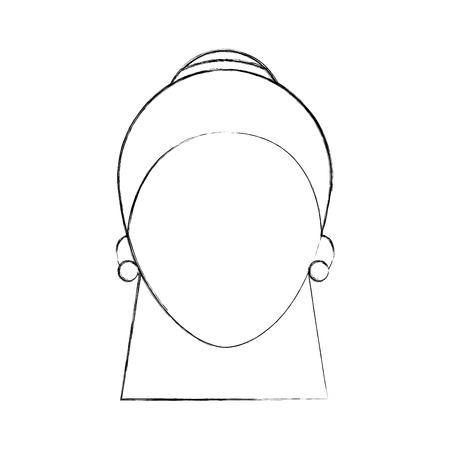 Donna faccia carattere viso e acconciatura illustrazione vettoriale Archivio Fotografico - 85494278