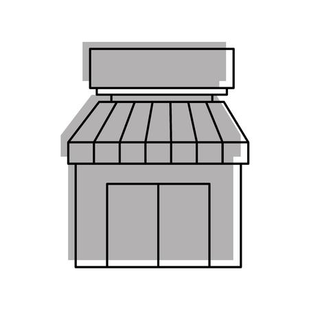 白い背景ベクトルイラストレーションに分離された店舗の食料品店の建物のエクステリアファサード