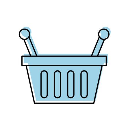 mujer en el supermercado: basket shopping supermarket handle object vector illustration