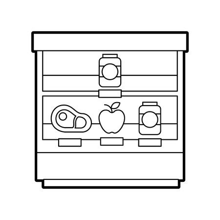 ベクトル図をショッピング スーパー マーケット店ショーケース冷蔵庫  イラスト・ベクター素材