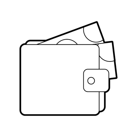 wallet money banknote dollar cash pay vector illustration