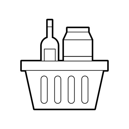 basket shopping with bottles drink products icon vector illustration Stock Vector - 85494450