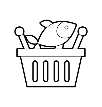 バスケットショッピング新鮮な魚市場シーフードベクターイラスト  イラスト・ベクター素材