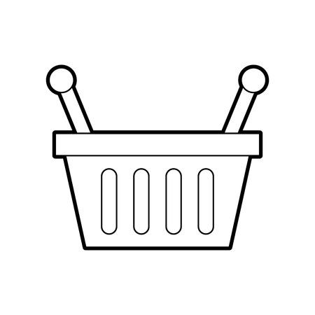 basket shopping supermarket handle object vector illustration