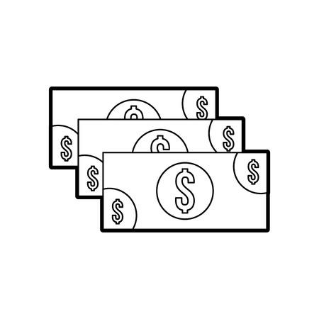 stack banknote cash money currency dollar vector illustration